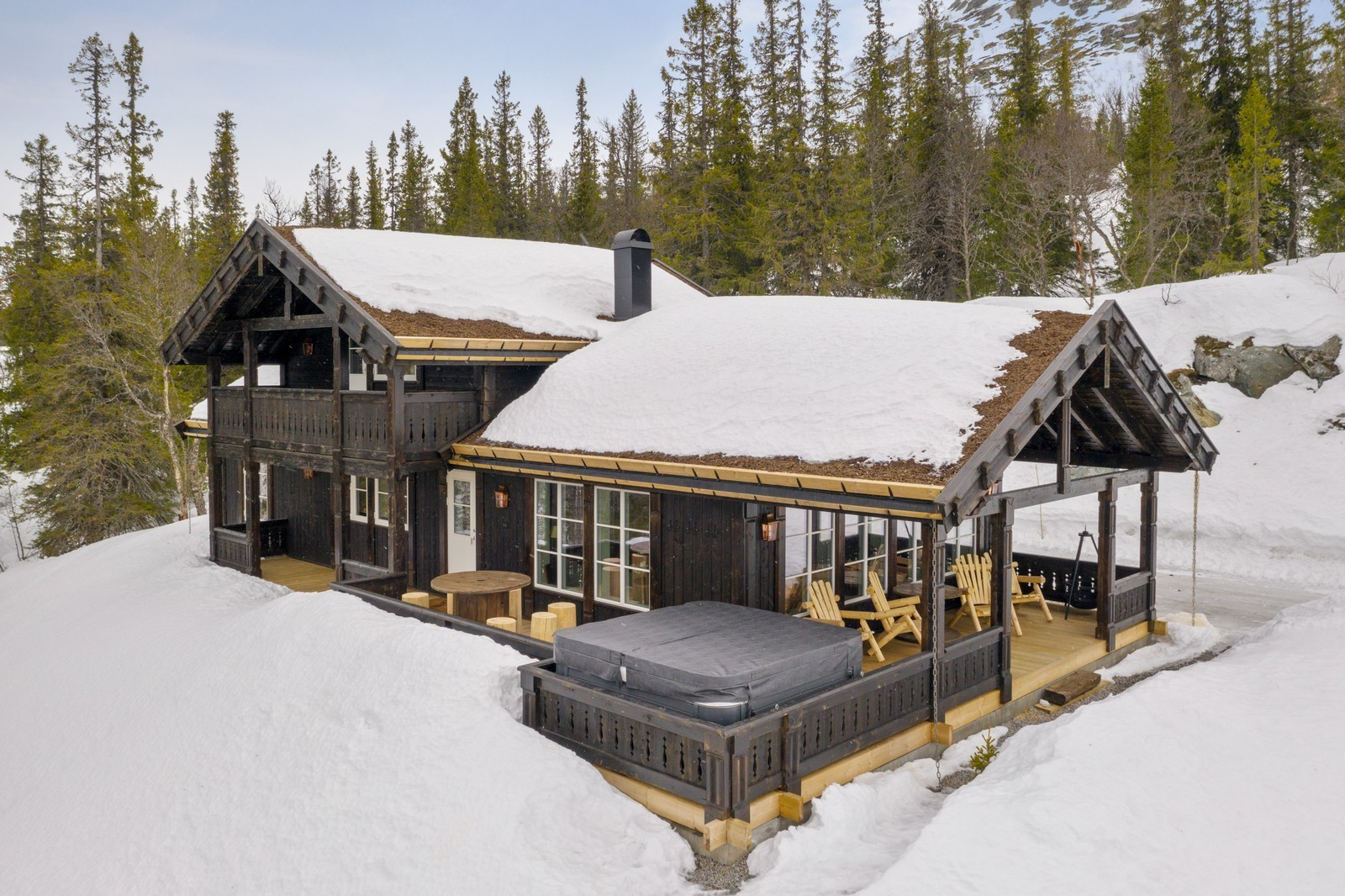 Eksempel på en kundetilpasset Storodde hytte bygget for en kunde av oss. Hytten har ulike tilpasninger og tilvalg