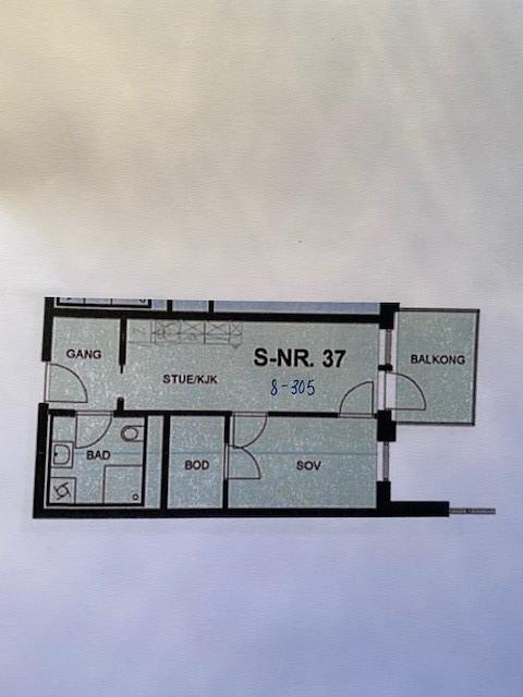 2-roms på 36 m2 kr 11.000,- Balkong mot hage/felles parkanlegg
