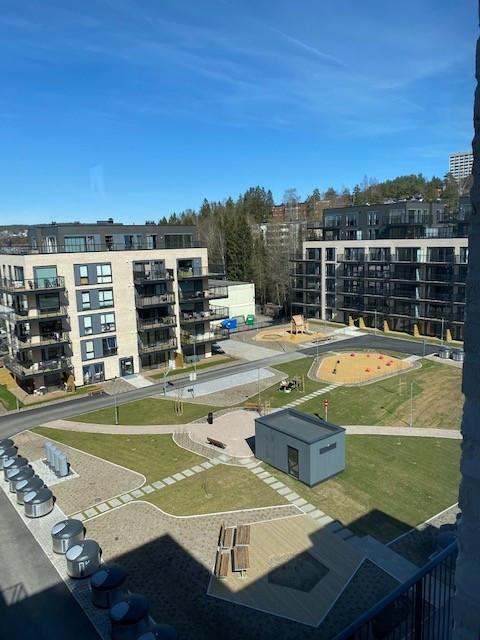 Flott utsikt over felles hage/parkanlegg