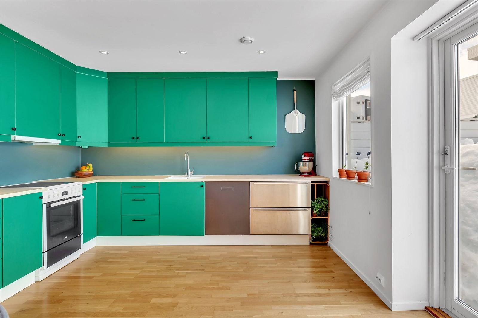Spennende farvevalg, integrert oppvaskmaskin og kjøleskuffer.