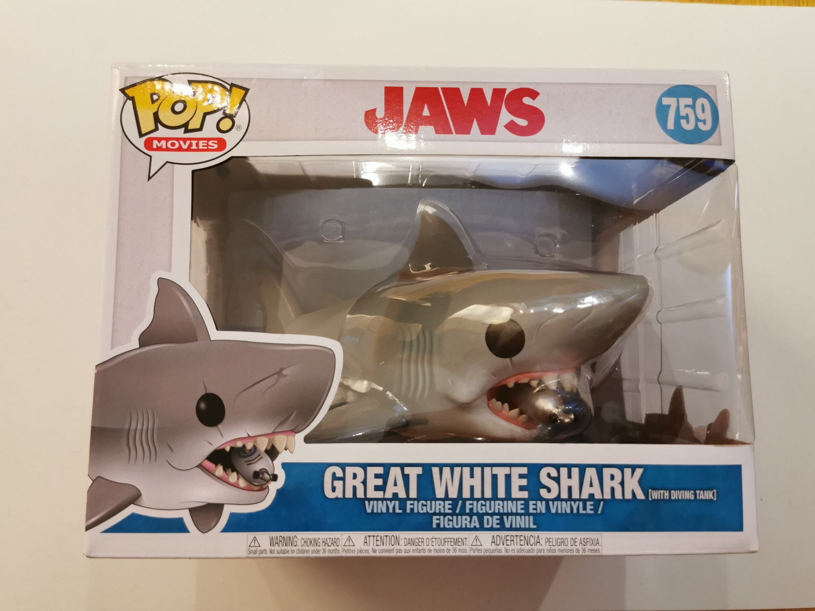 """Movies 6/"""" With Diving tank Jaws #759 Great White Shark Funko Pop"""
