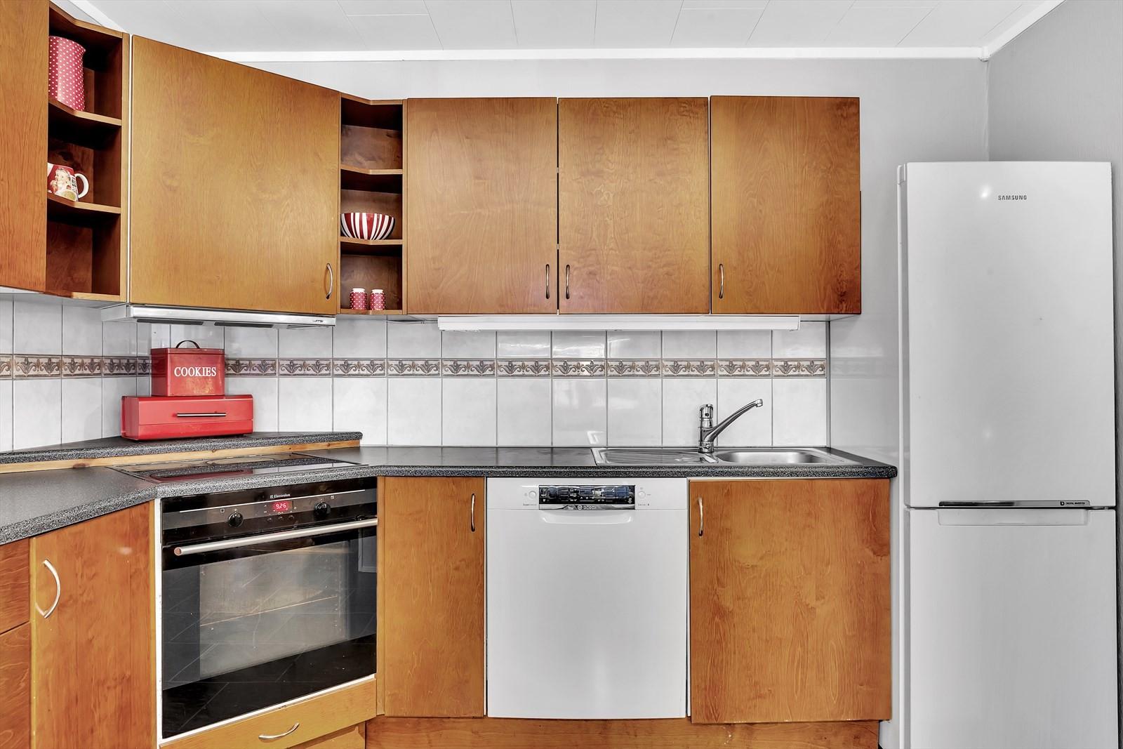 Integrert stekeovn, koketopp og oppvaskmaskin