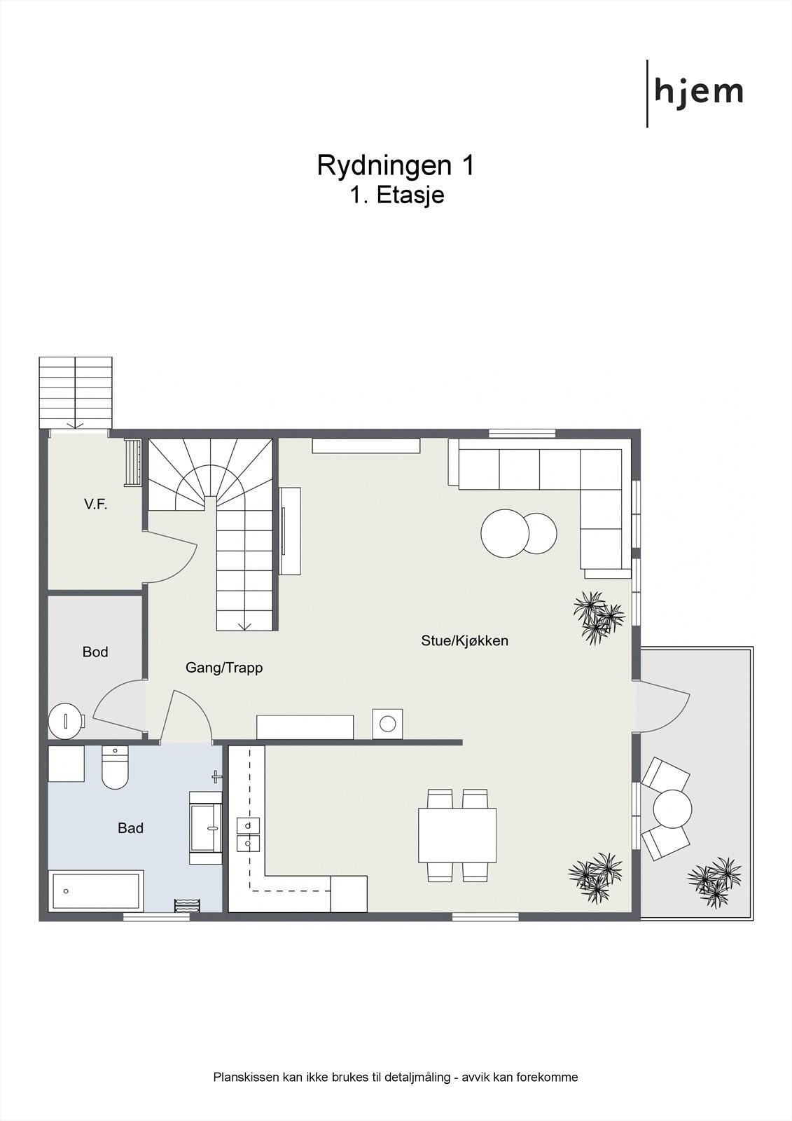 2D planillustrasjon av 1. etasje.