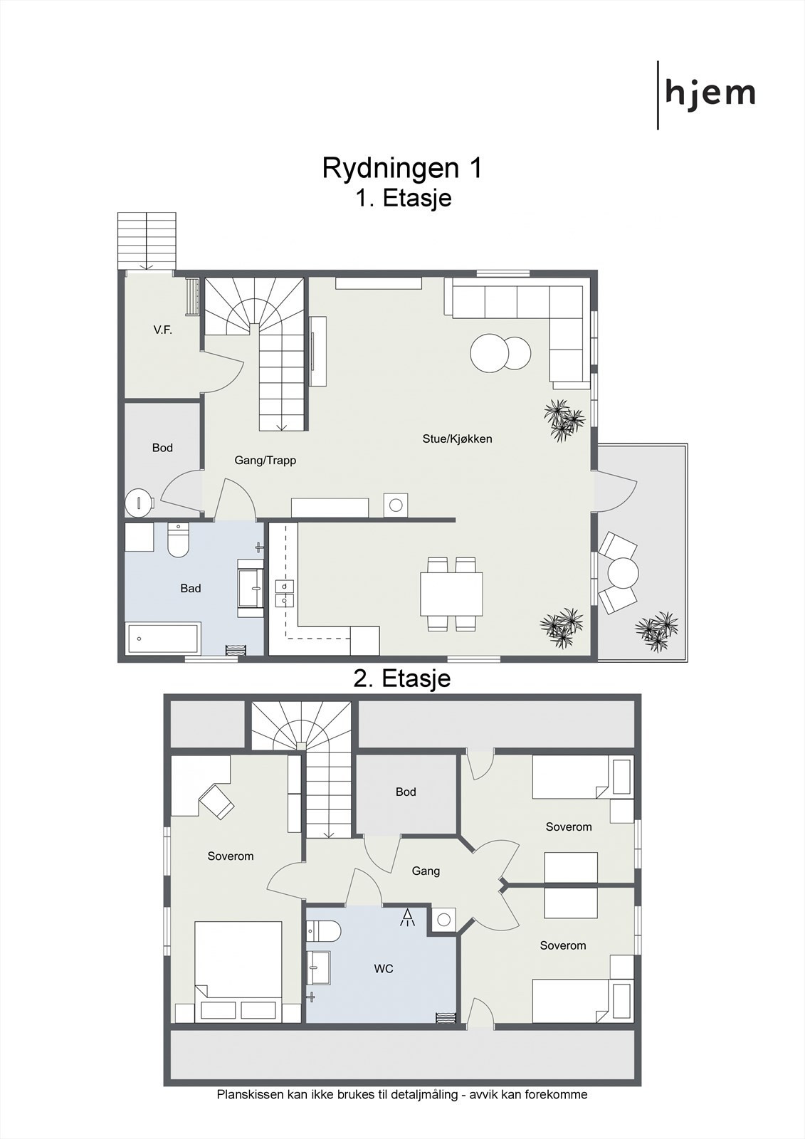 2D planillustrasjon fra begge etasjer.