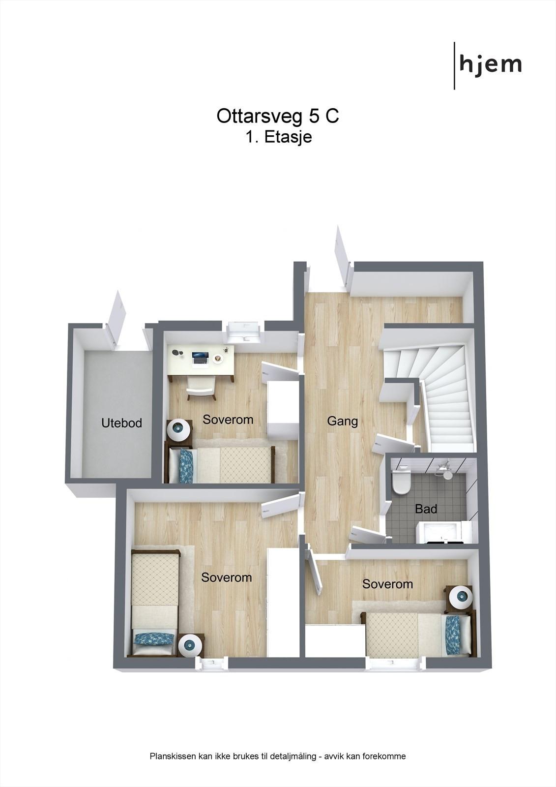 3D planillustrasjon av 1. etasje.