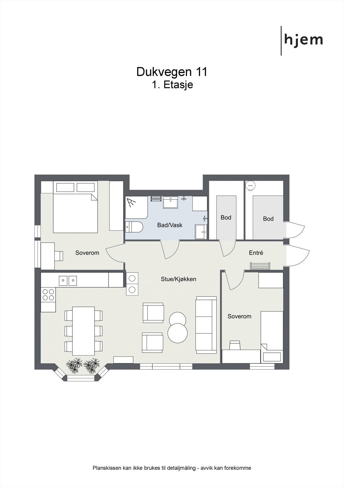 Plantegning 2d, 1. etasje (utleieleilighet)