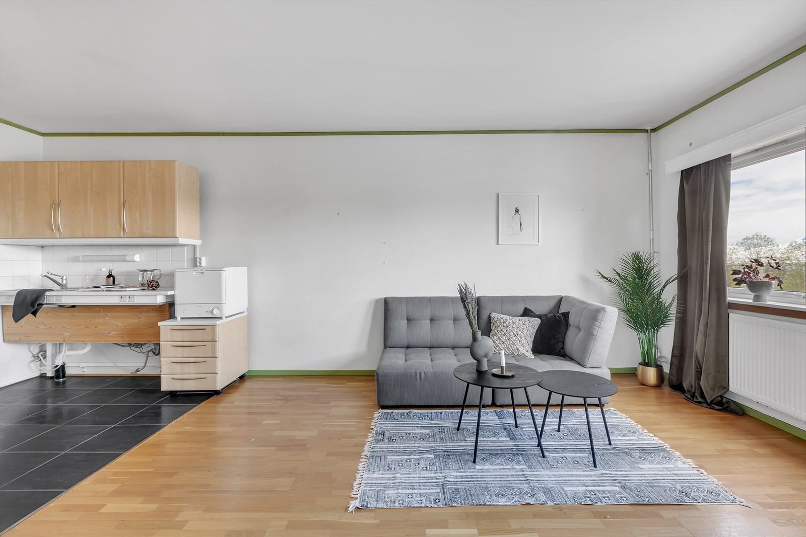 Kjøkken og stue.