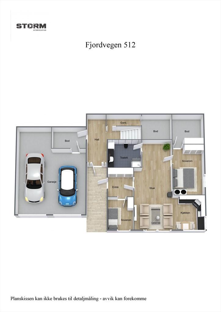 3D planillustrasjon 1. etasje.