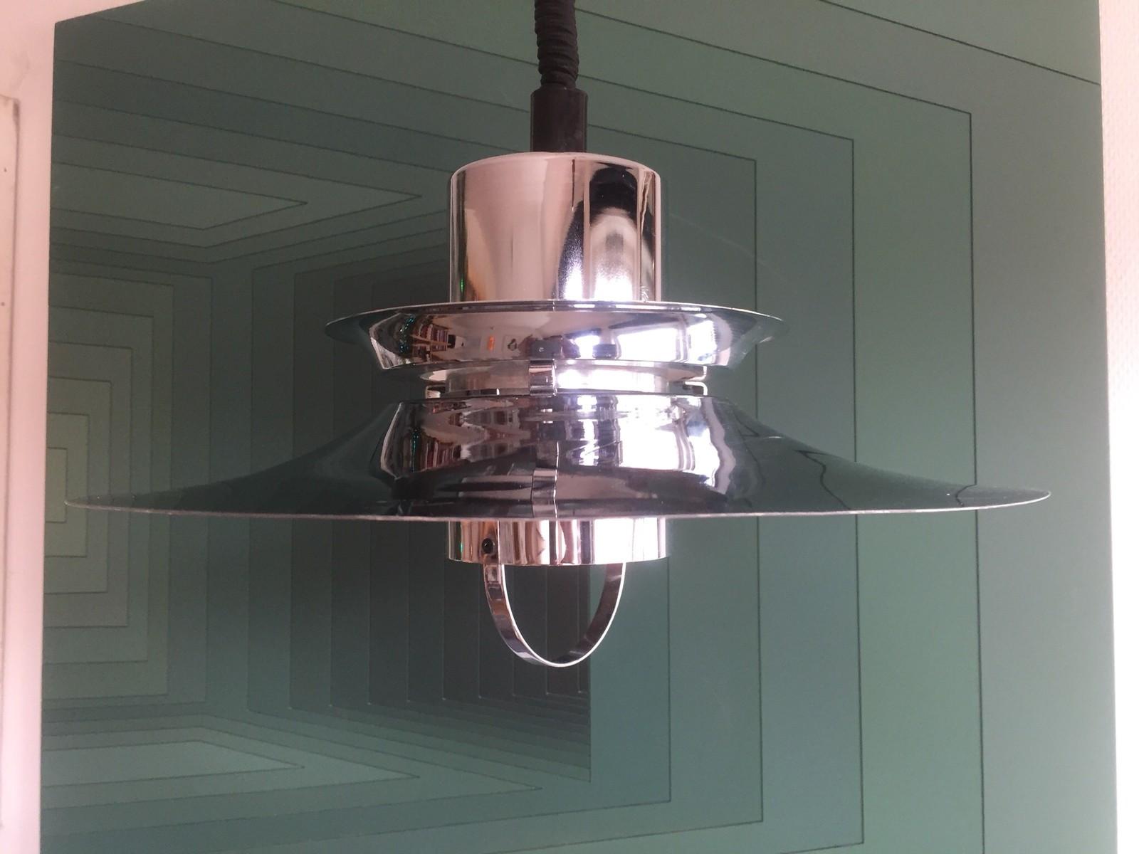 1800, Lyfa Dansk design 1970 retro stål taklampe