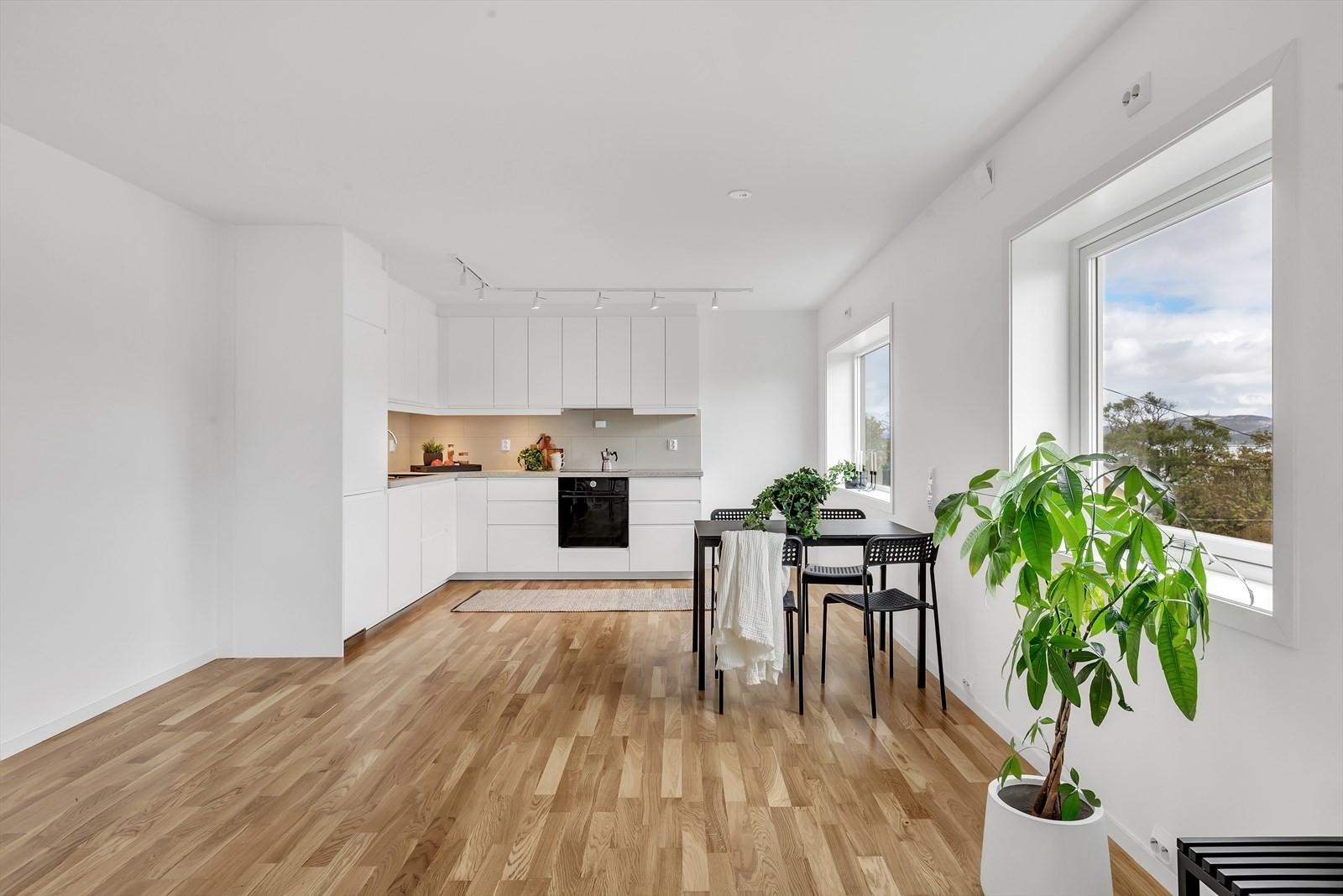 God plass for spisestue mellom stue og kjøkken