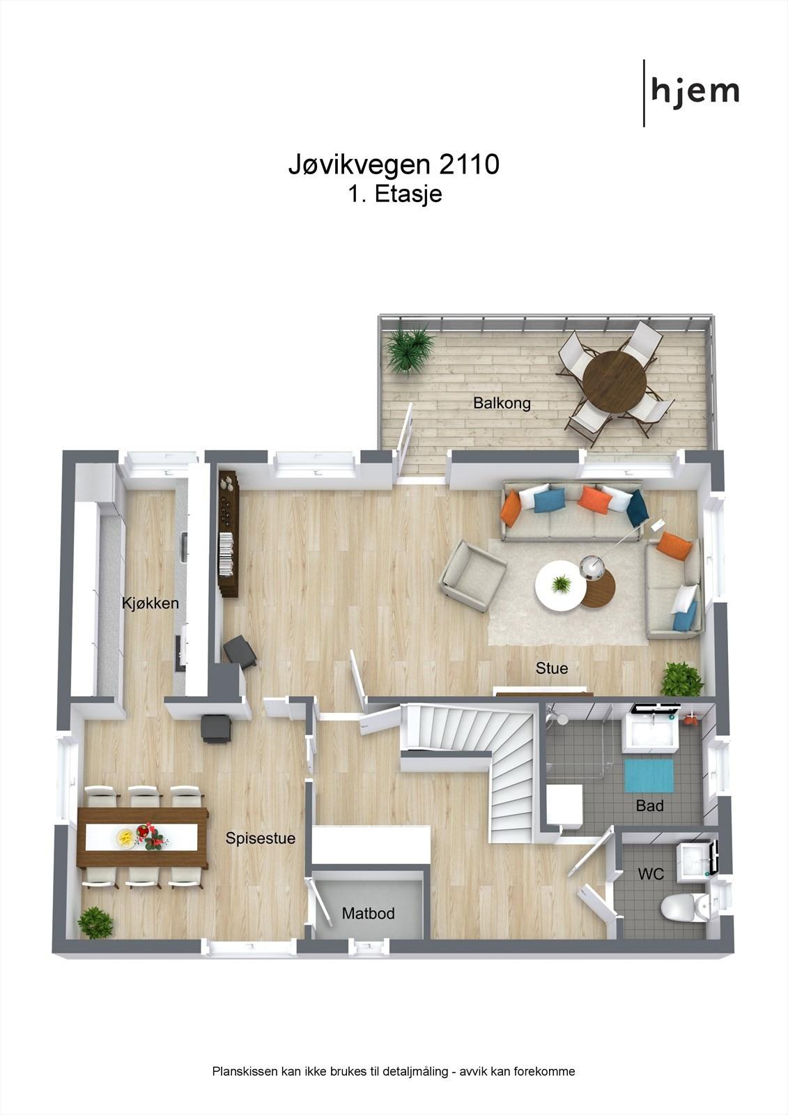 Floorplan letterhead - Jøvikvegen 2110 - 1. Etasje - 3D Floor Plan