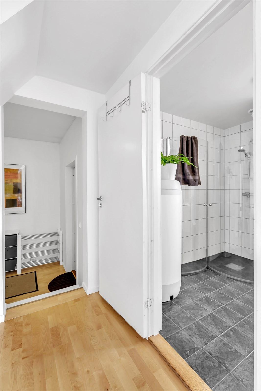 Mellomgang og badrom.
