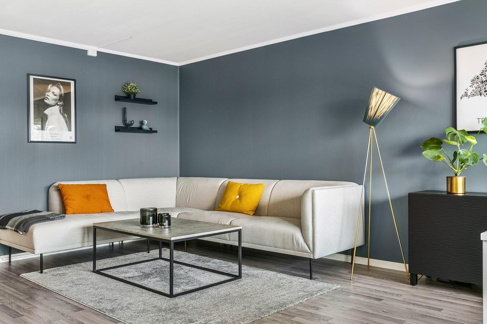 Pent oppusset stue med tidsriktige farvevalg.