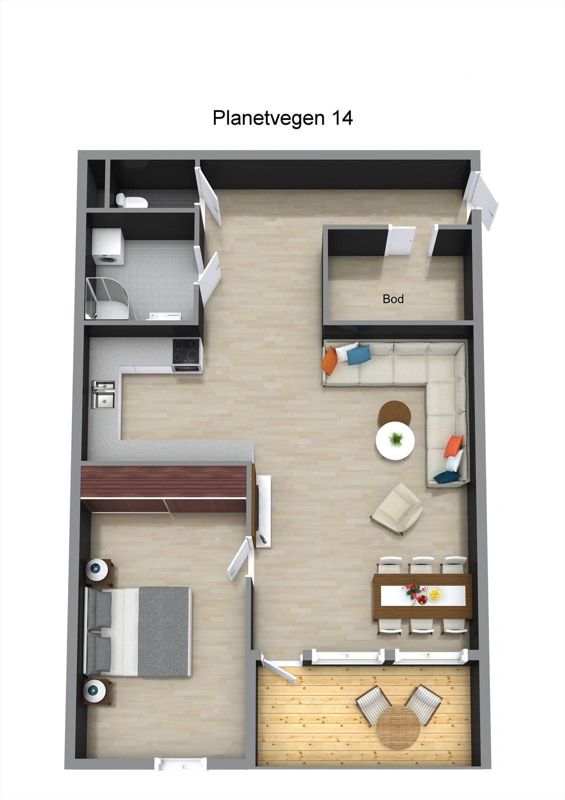 Planillustrasjon av leiligheten.