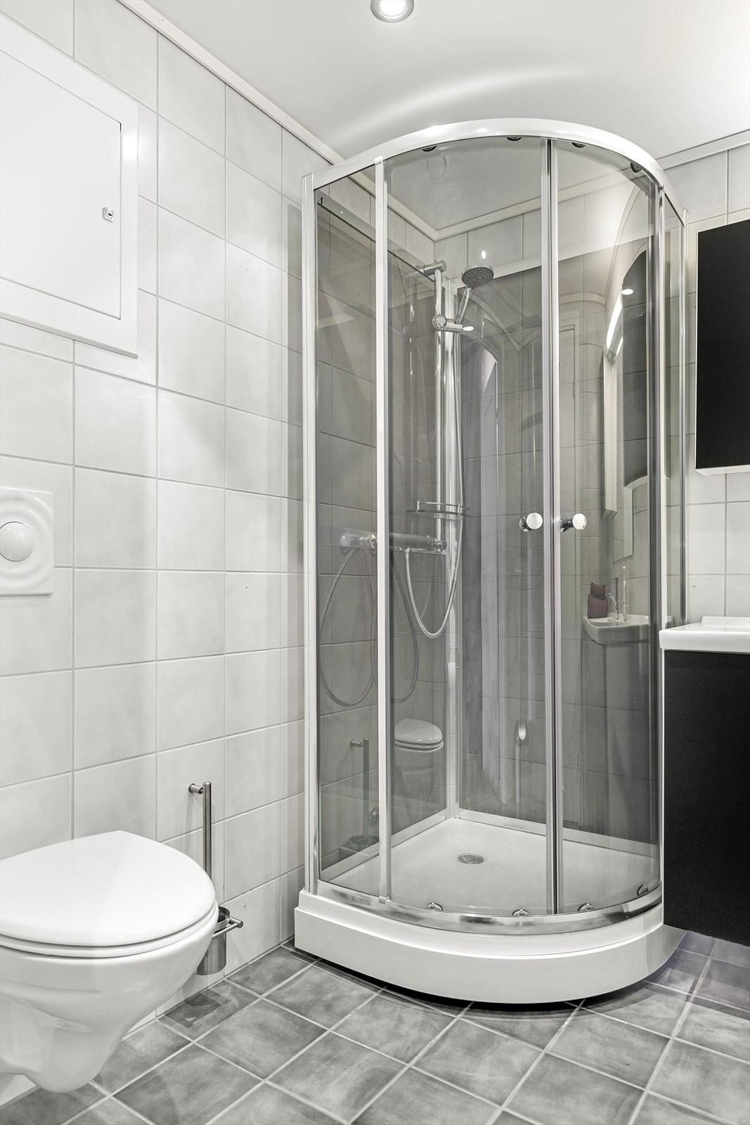 Vegghengt toalett og dusjkabinett på badet.