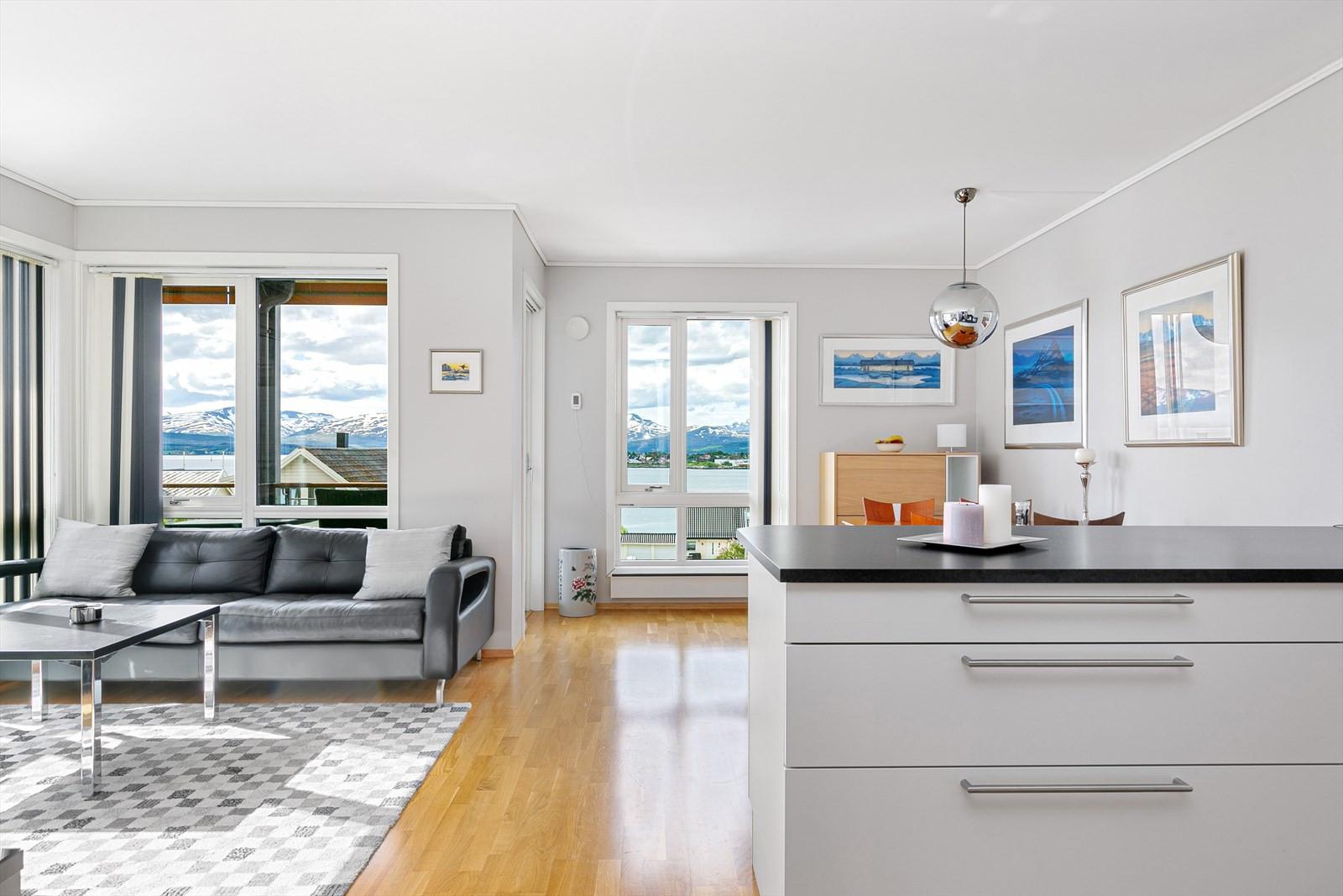 Løsningen gir et naturlig skille mellom stuen og kjøkkenet.