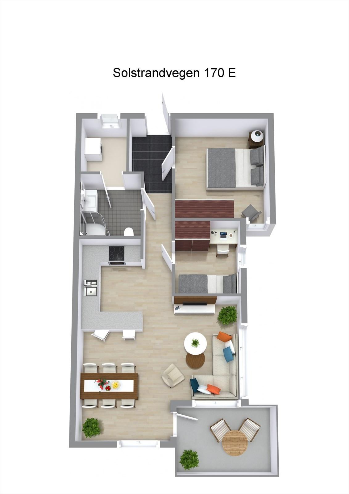 Planillustrasjon av leiligheten