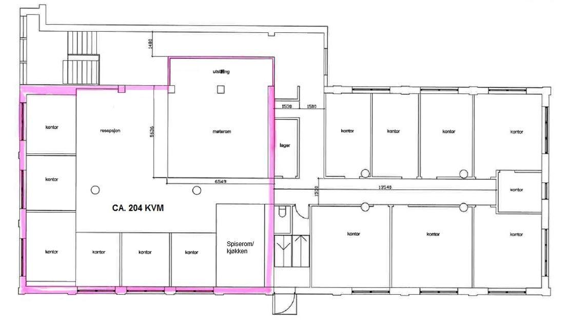 Planskisse 1. etasje (kontor)