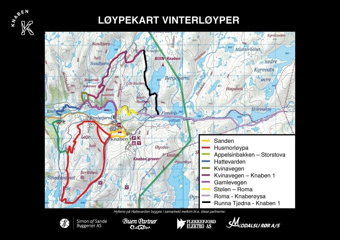 Knaben er et fantastisk naturområde for helårsturer på fjellet.      Her er et kart som viser skiløypene og vinterturene.