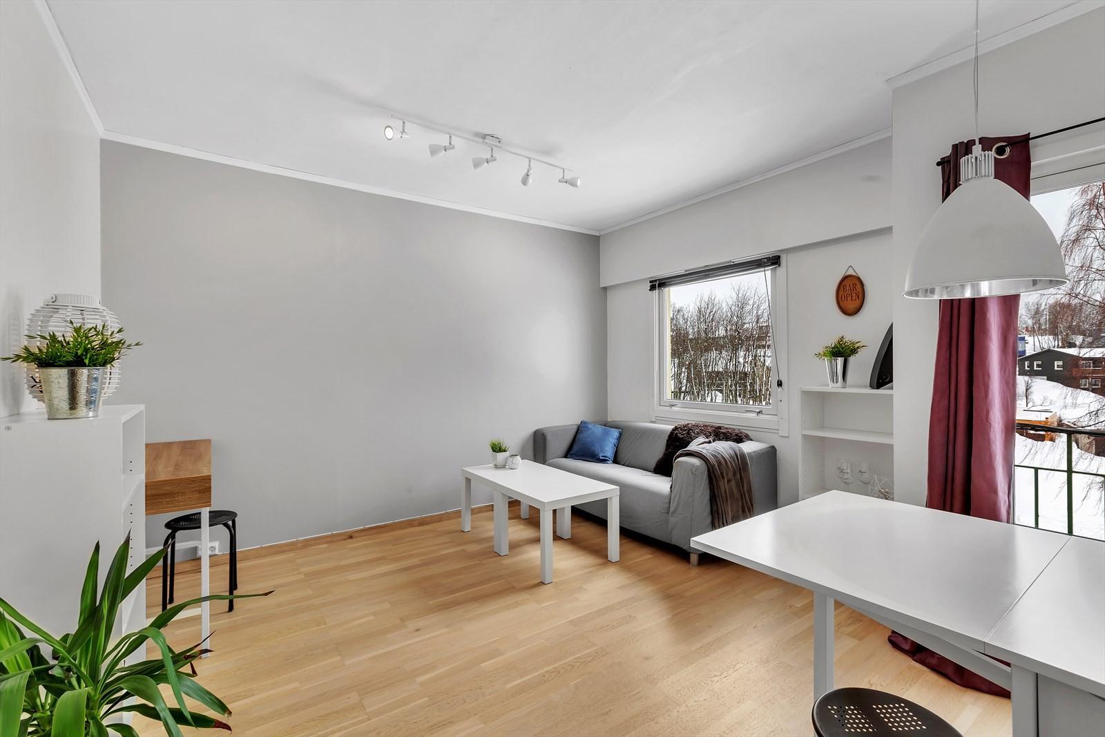 Lys og trivelig stue med flere møbleringsmuligheter