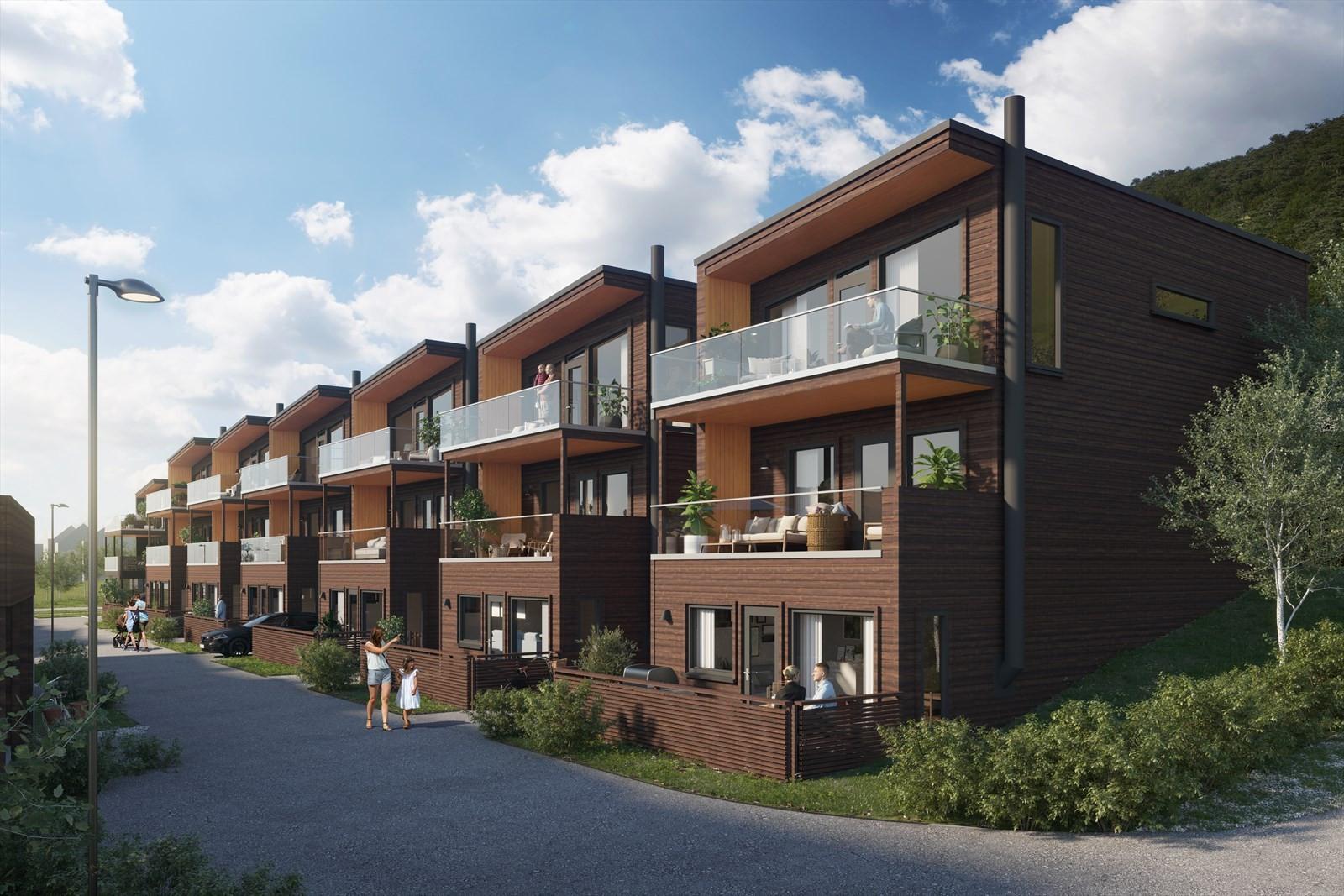 Tomannsboliger med 3-roms i u.etasjen og 4-roms i de 2 øverste etasjene