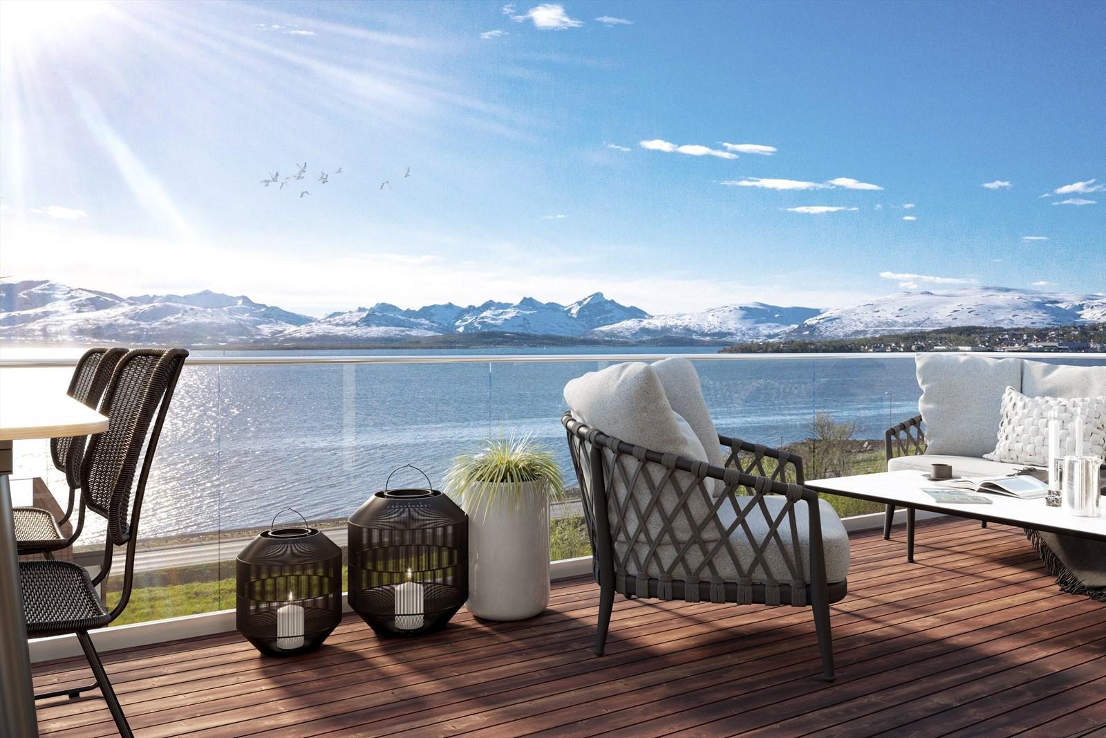 Boligene i fremste rekke får eksepsjonell utsikt mot sundet, Kvaløya og Tromsøya