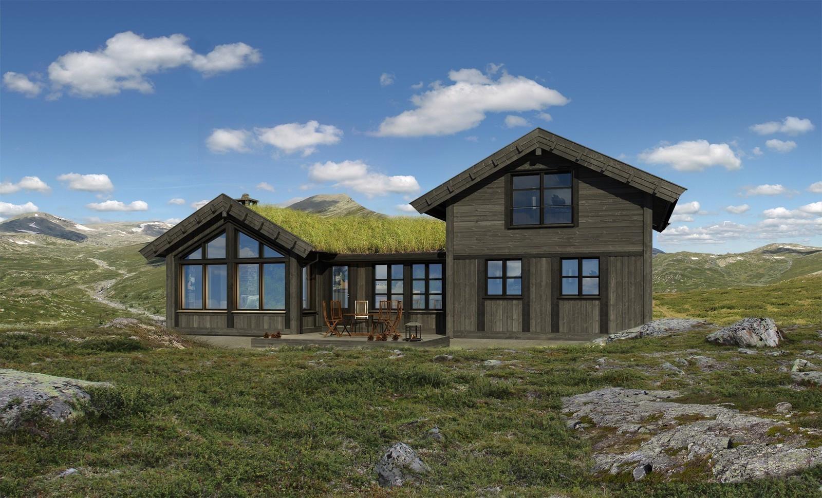 Illustrasjon som viser denne flotte hytten! Med de flotte utsikt tomtene på Hattevarden, så blir dette en perfekt kombinasjon .