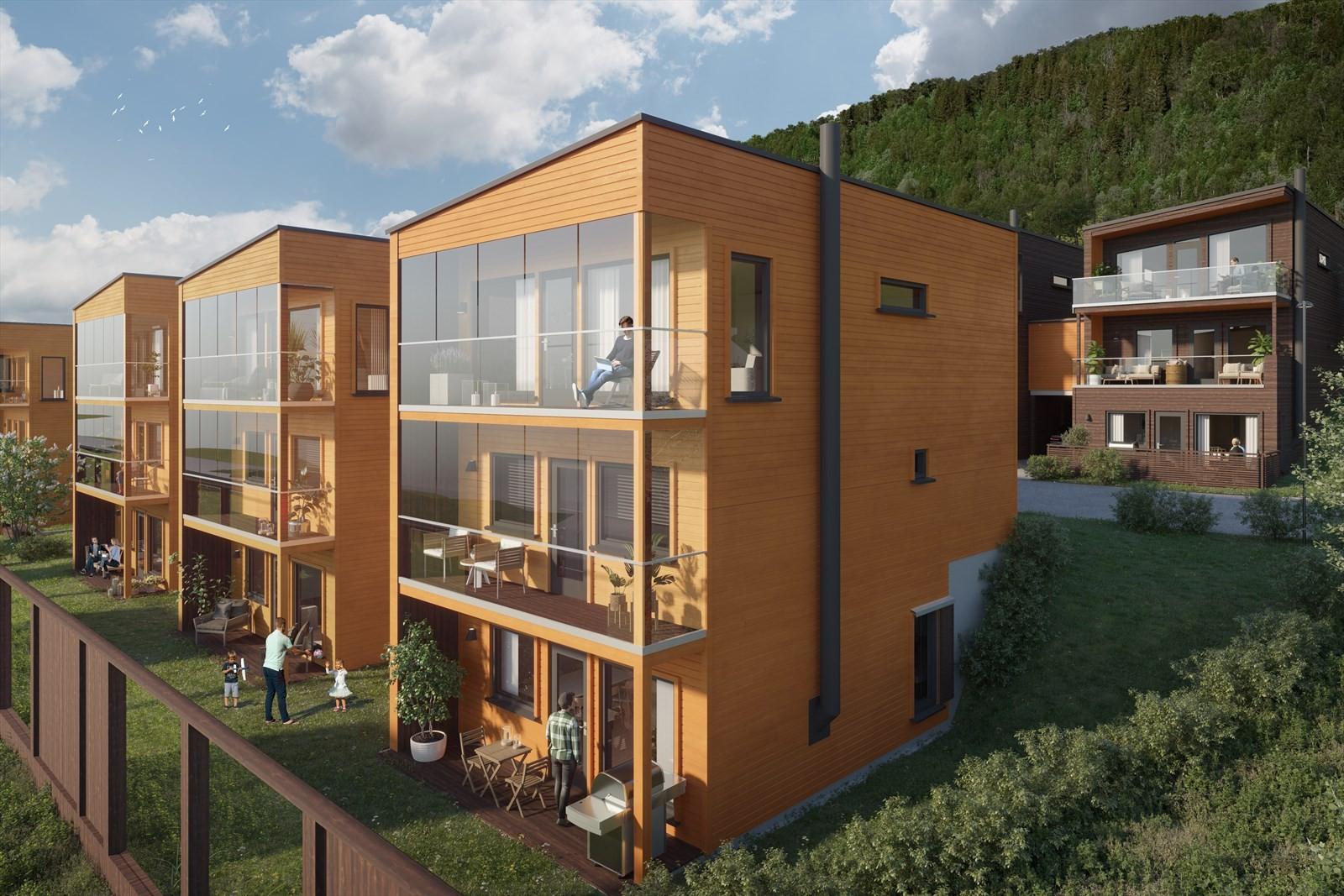 Denne hustypen består av en 4-roms leilighet i de 2 øverste plan i boligen og en 2-roms i u. etasjen