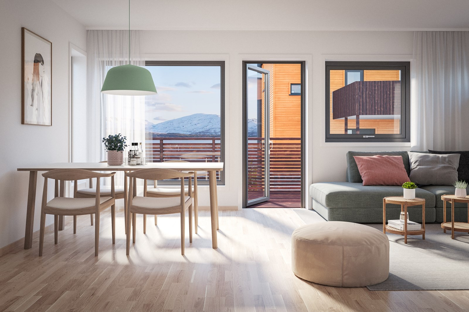 Stuen i 3-roms i 1. etasje i bakre rekke, bolig A10 - A15