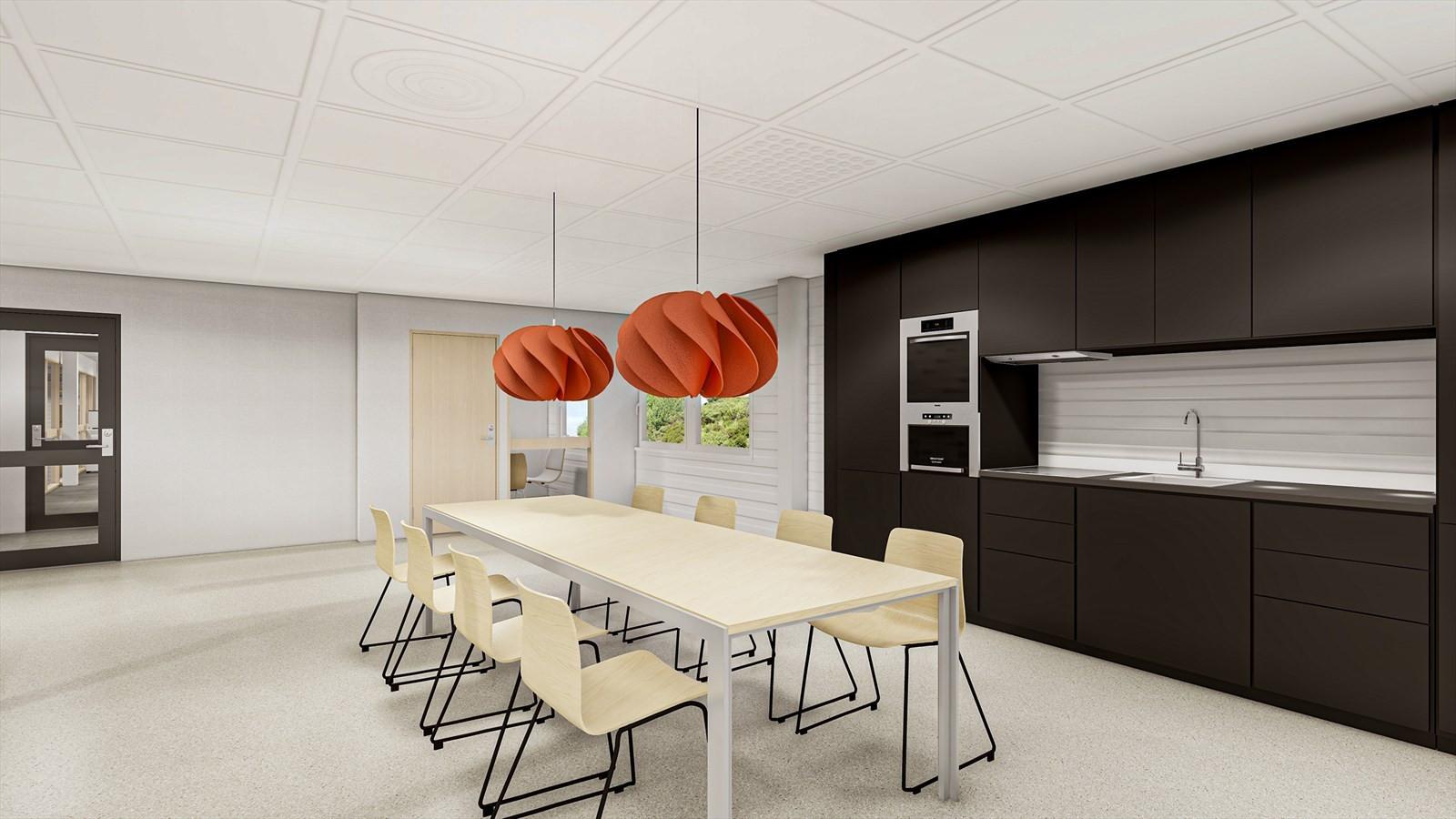 Det meste av 2. etasje er i dag inndelt med flere kontorer, kjøkken, sosiale rom m.v, men kan tilpasses nærmere iht leietakers kravspesifikasjoner.
