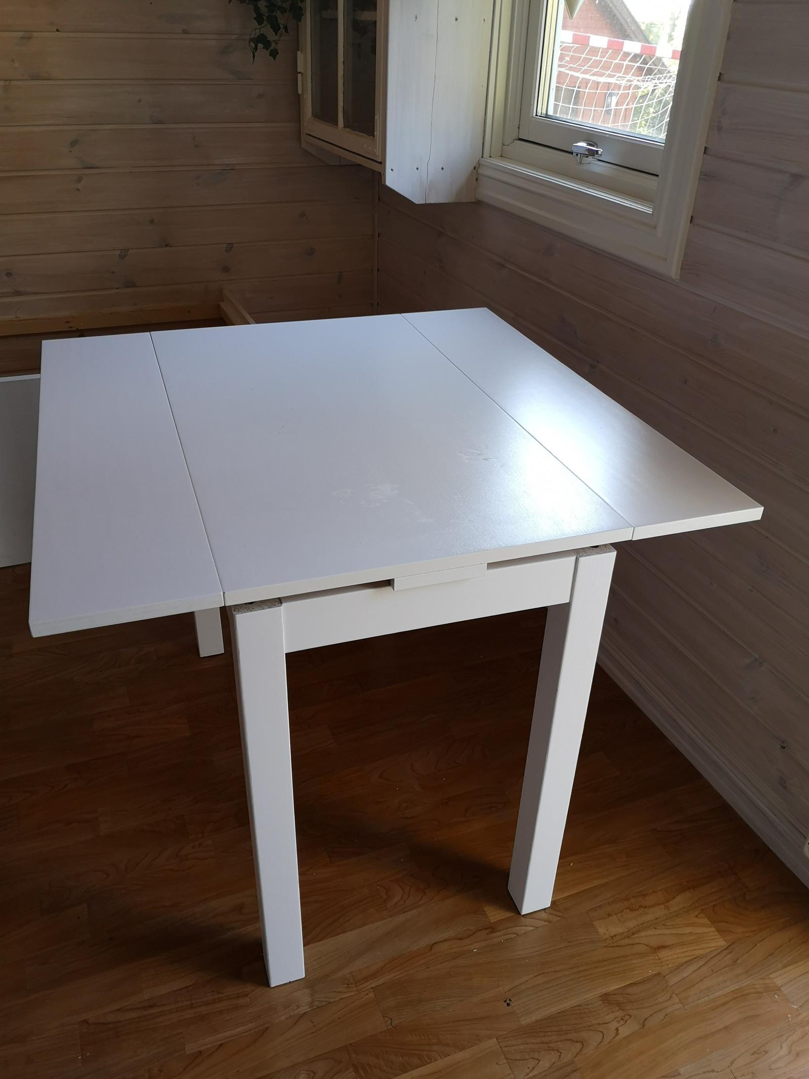 Spisebord, ekstrabord, tilleggsbord hvitt, helt og pent
