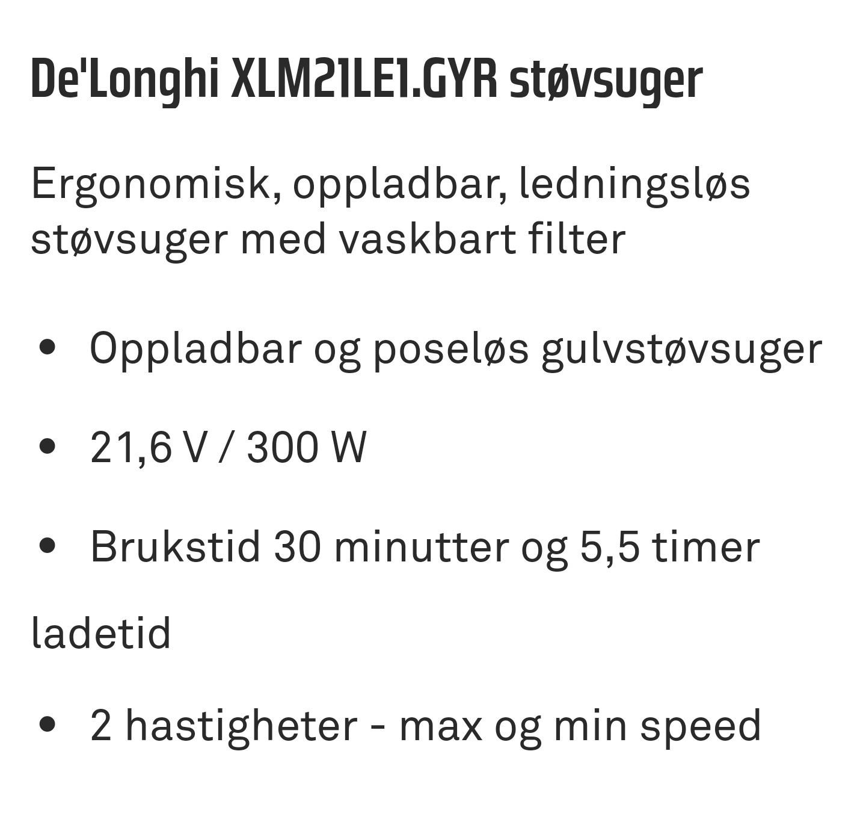 De'Longhi XLM21LE1.GYR støvsuger | FINN.no