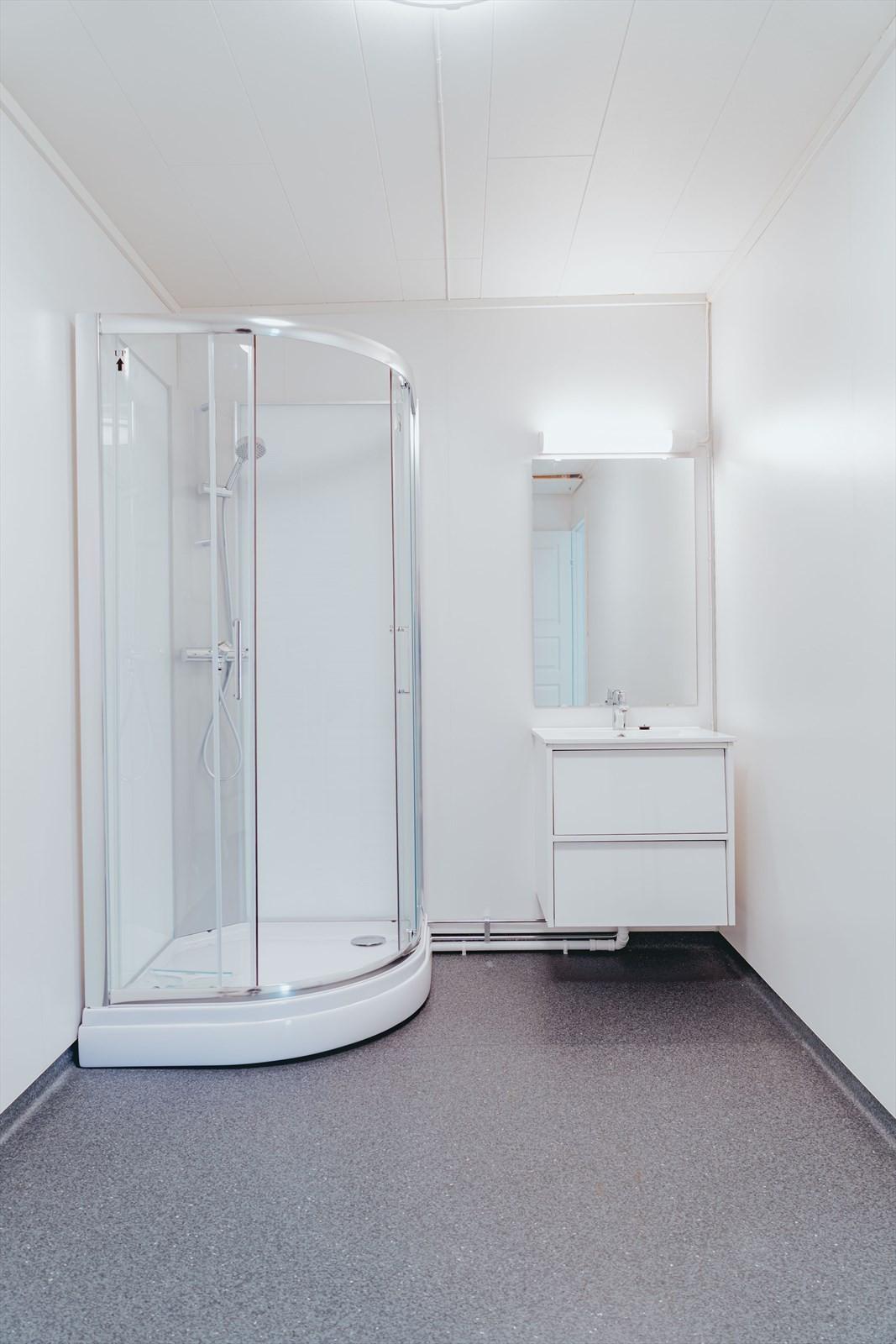 Stort vaskerom som også er utstyrt med dusjkabinett og innredning