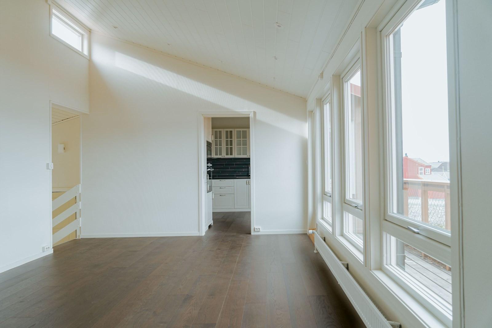 Kjøkkenet er delvis adskilt fra stuen