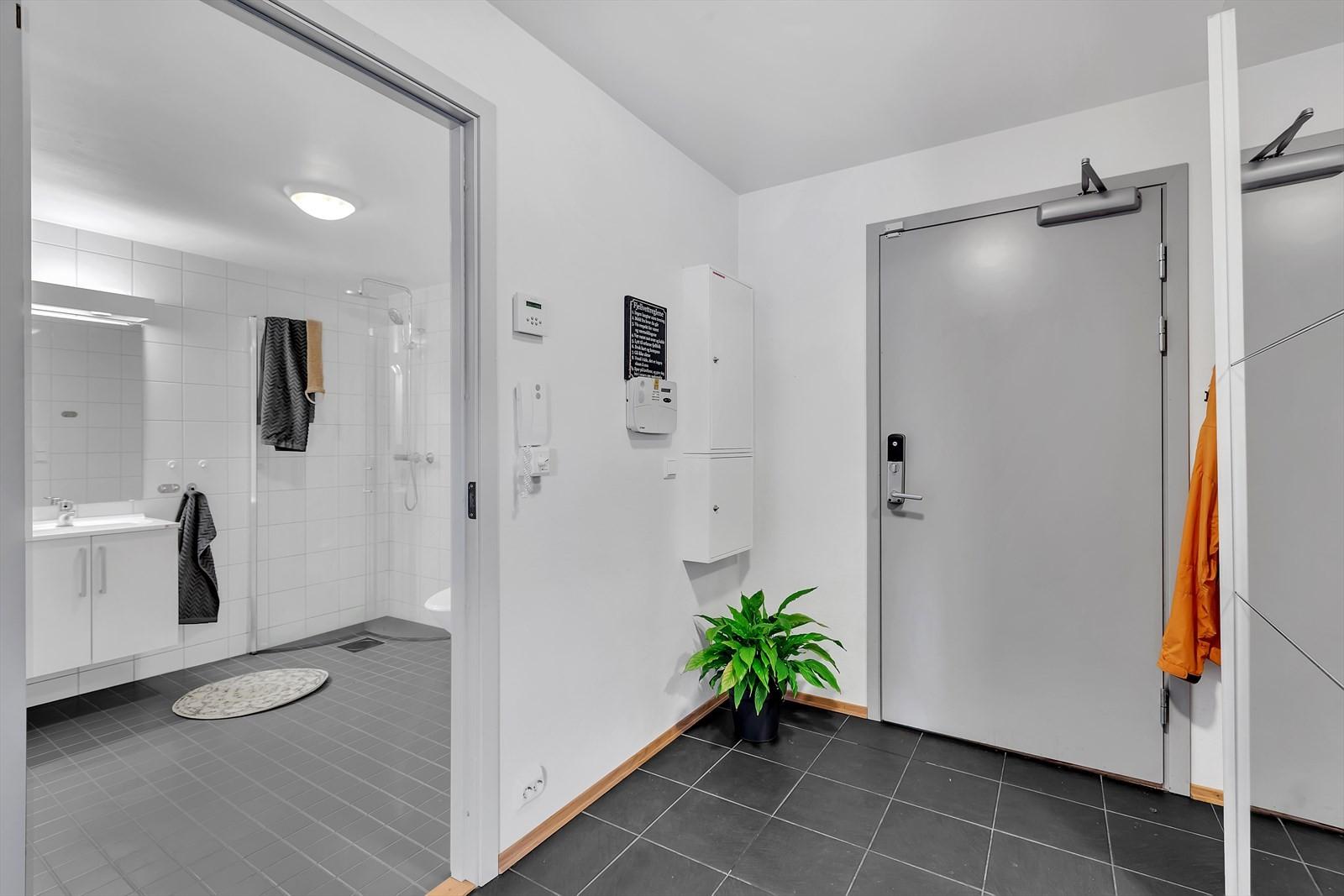 Romslig entre med flislagt gulv og garderobe.