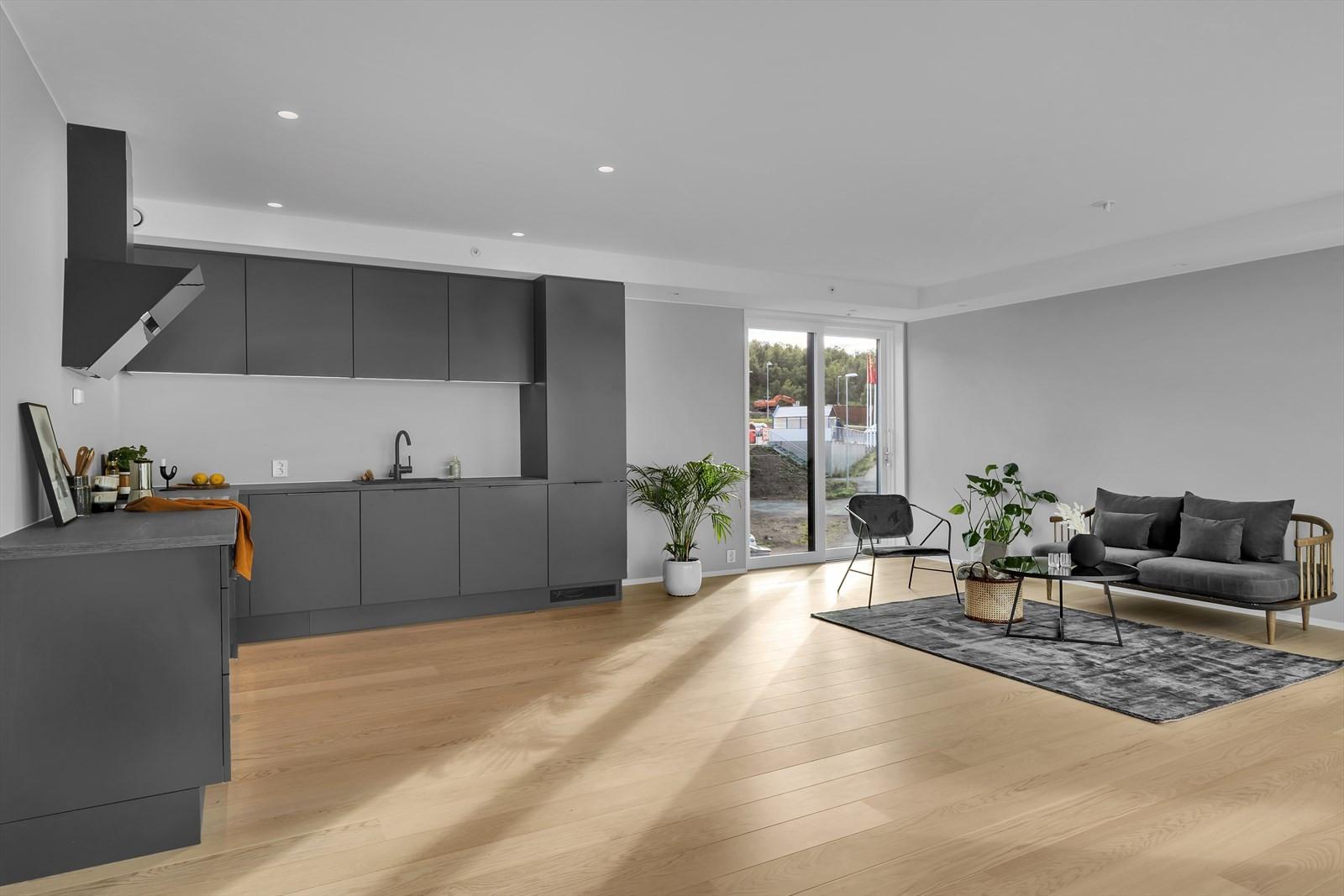 Ulike møbleringsalternativer i stue og kjøkken