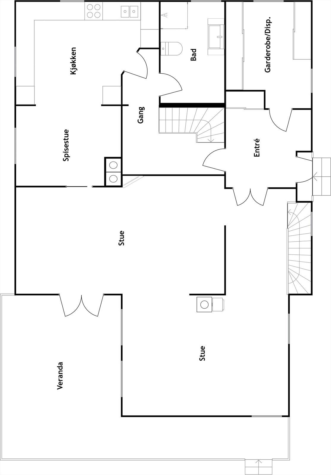 Plantegning 1. etasje, 2d