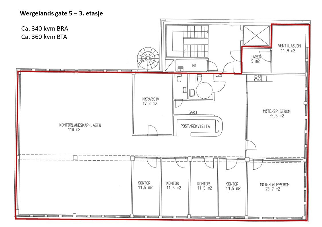 Planskisse ledig areal 3. etasje