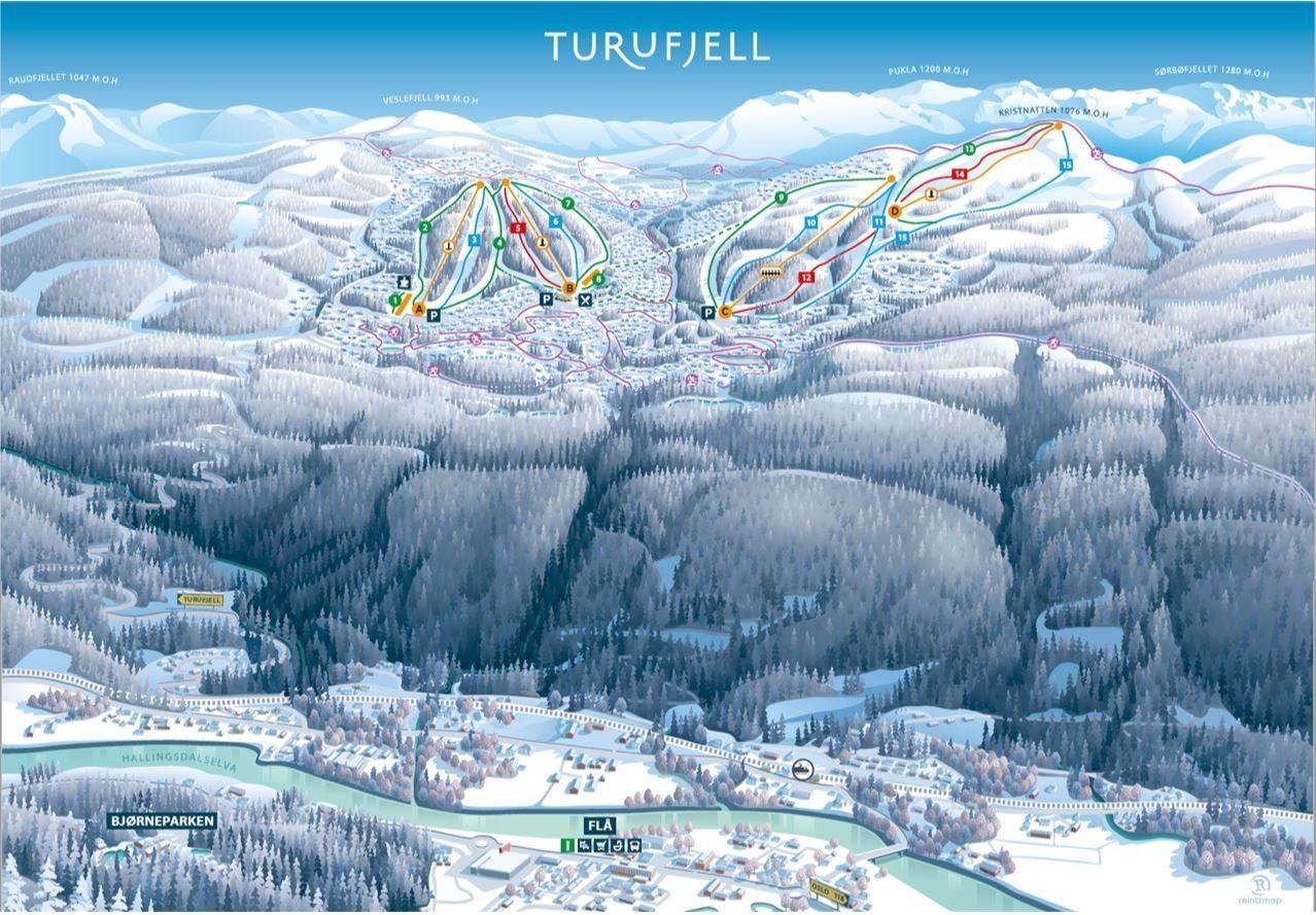Oversiktskart Turufjell alpin