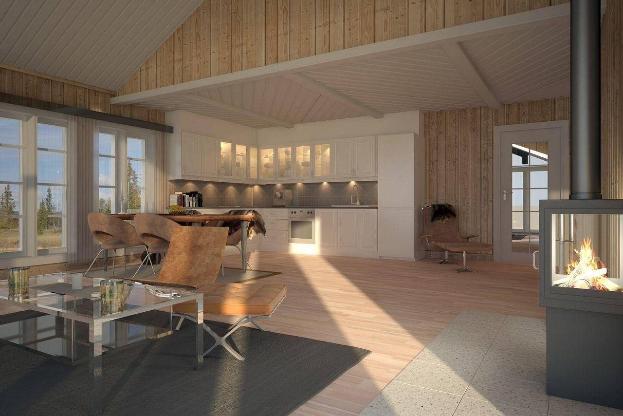 Aktuell illustrasjon av prosjektert hytte. Stor og luftig.