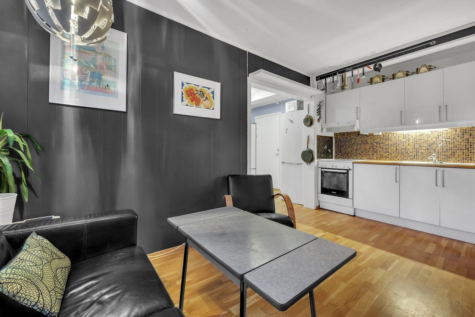 Stue og kjøkken i samme rom