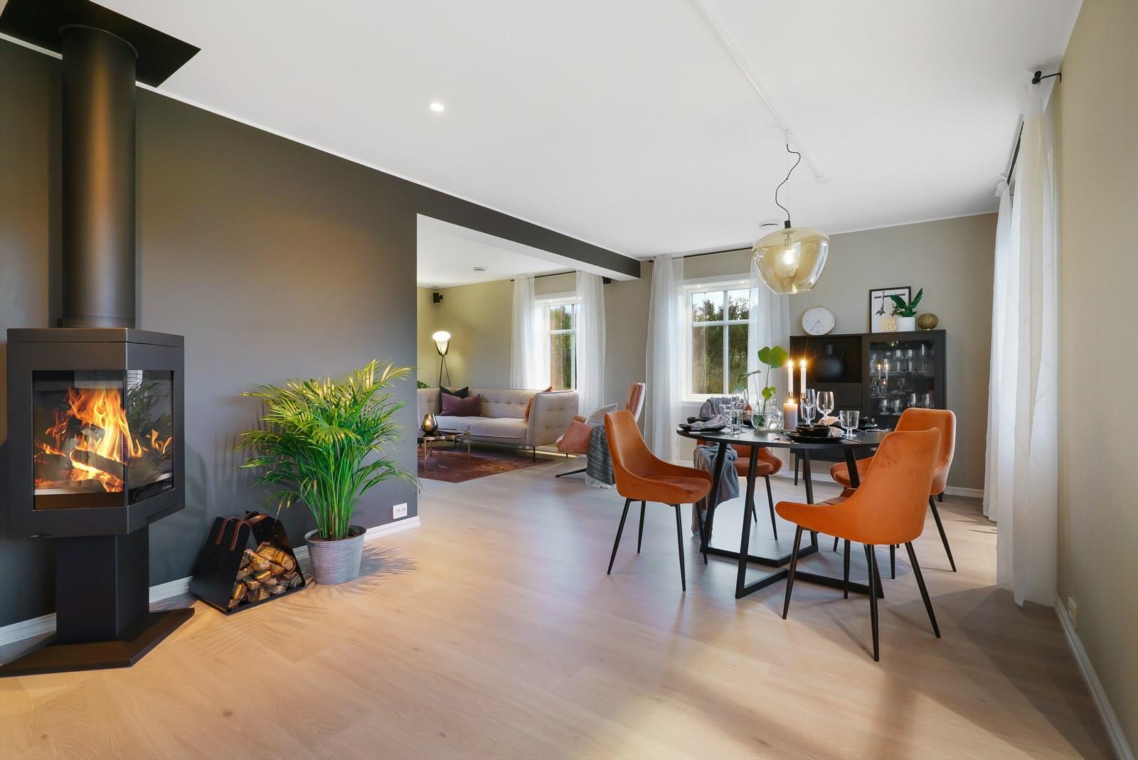Alle gulv i boligen har vannbåren varme (unntatt vaskerom)