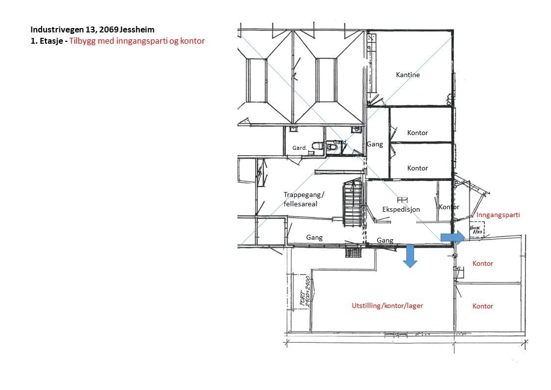 Planskisse 1. etasje - tilbygg med inngangsparti og kontor
