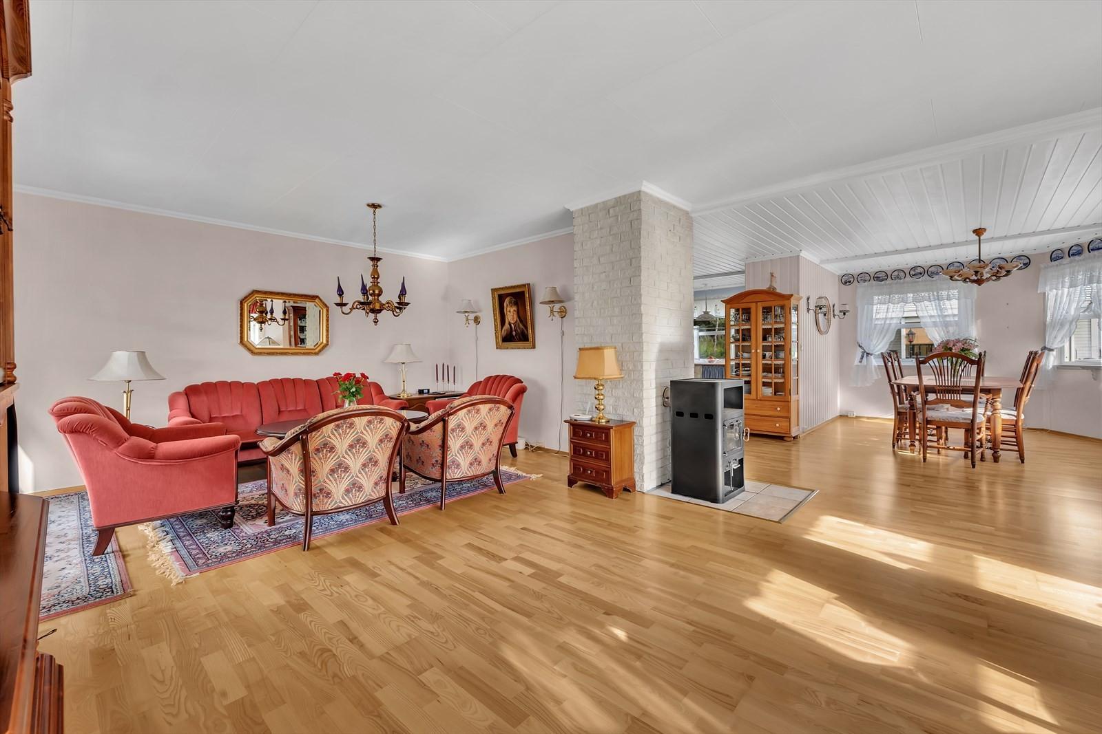 Stuen opplevers som lys og med godt med lysinnslipp