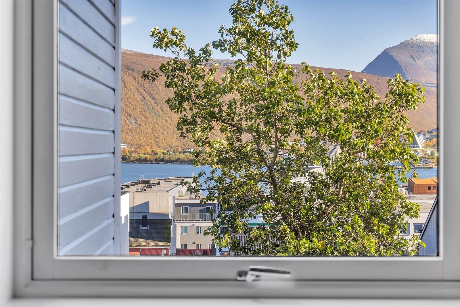 Utsikt mot Tromsdalstinden fra kjøkkenvinduet