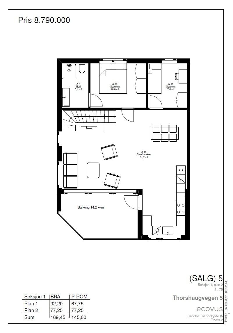 Plantegning Hus A plan 1