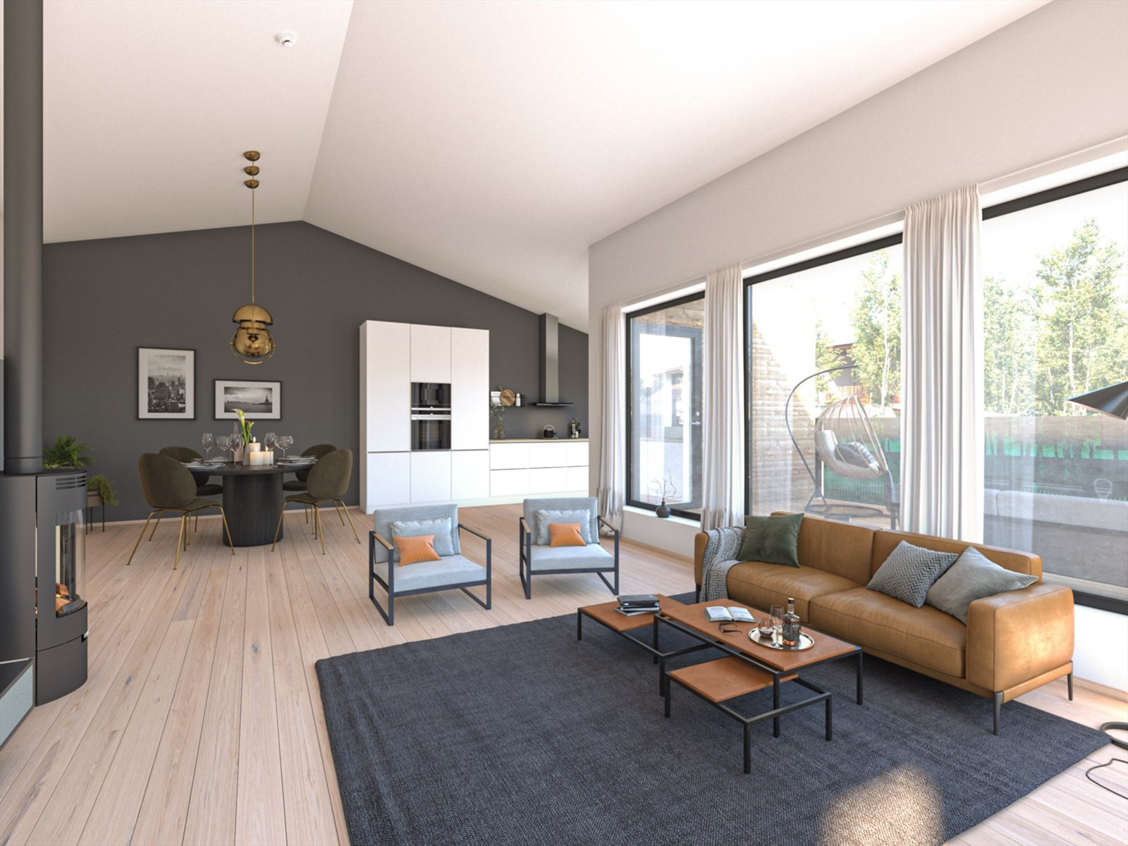 Stue i hus B. Sjekk den herlige takhøyden og de store vinduene mot sør