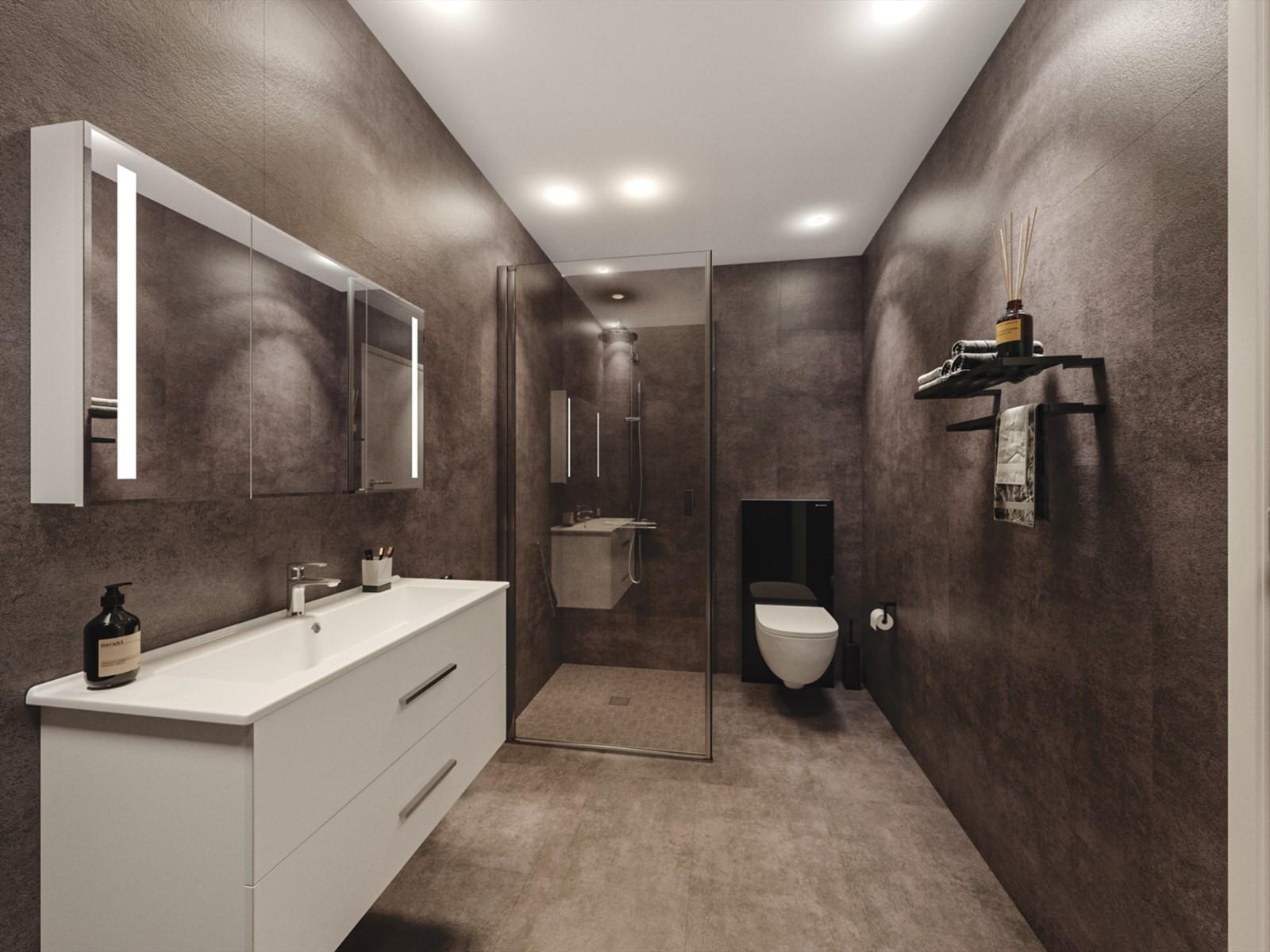 Badene får moderne og pent uttrykk med storformatfliser i 60x60 cm og ellers flott sanitærutstyr