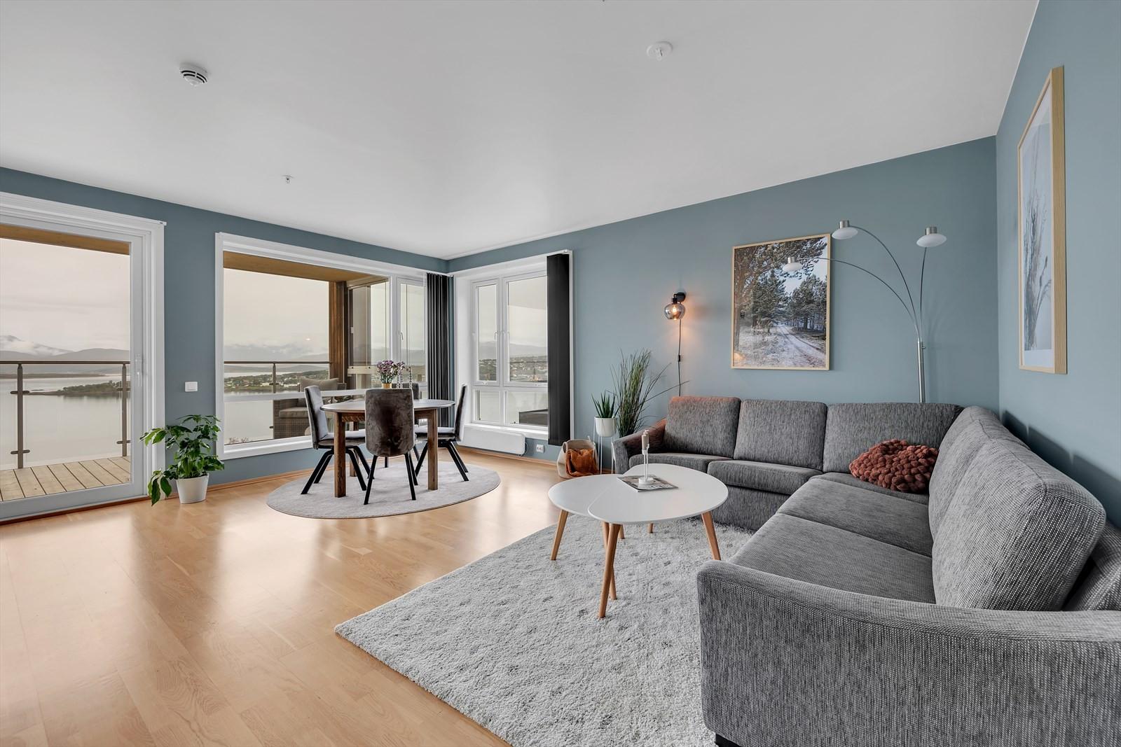 Romslig stue med god plass til møbler og store vindusflater