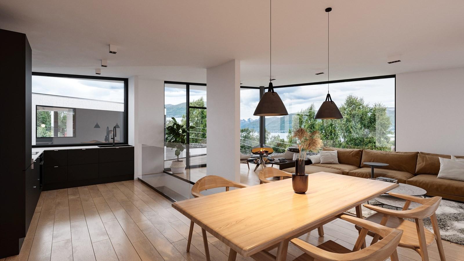 Stue og kjøkken i Hus A